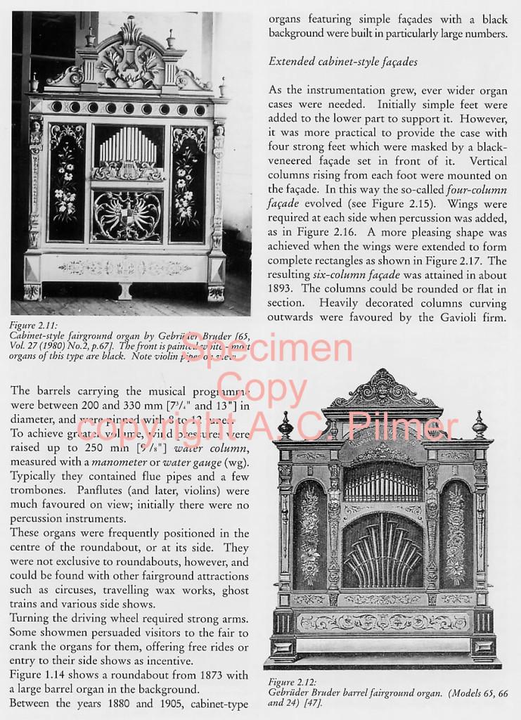 Cabinet-style fairground organ